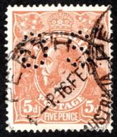 """AUS SC #OB36 U 1914 Official / 5p Small """"OS"""" WMK 9 CV $11.50 - Perfins"""