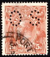 "AUS SC #OB36 U 1914 Official / 5p Small ""OS"" WMK 9 W/short Perf CL CV $11.50 - Perfins"