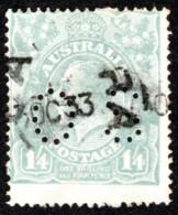 """AUS SC #OB37 U 1914 Official / 1sh 4p Small """"OS"""" WMK 9  CV $22.50 - Perfins"""