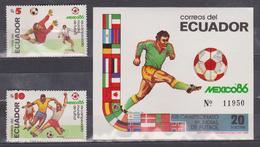 ECUADOR 1986 MEXICO SOCCER WORLD CUP SOUVENIR SHEET + 2 STAMPS FULL SET MNH SC# 1129-1130 - Equateur