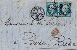 1862- Lettre De Paris Bureau  J  Cad 1515 / 3  Affr. Paire N°14 Oblit. étoile Pleine  Pour Baden-Baden - Marcophilie (Lettres)