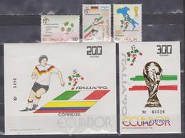 ECUADOR 1990 ITALY SOCCER WORLD CUP 2 SOUVENIR SHEET + 3 STAMPS FULL SET MNH SC# 1234-1238 - Equateur