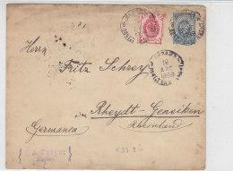 Ganzsachenumschlag Mit Zusatzfrankatur Aus KALIAZ ? 16.8.1899 Nach Rheydt ... - Briefe U. Dokumente
