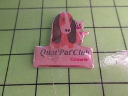 516c Pin's Pins / Rare Et Belle Qualité THEME : ANIMAUX / CHIEN CHAT QUAT'PAT'CLUB CONCORDE - Animals