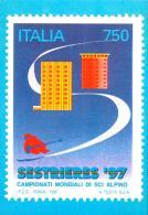 [MD2012] CPM - SESTRIERE '97 CAMPIONATI MONDIALI DI SCI ALPINO - A. TESTA - RIPR. FRANCOBOLLO -CON ANNULLO 2.2.1997 - NV - Wintersport