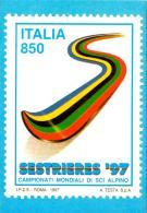 [MD2013] CPM - SESTRIERE '97 CAMPIONATI MONDIALI DI SCI ALPINO - A. TESTA - RIPR. FRANCOBOLLO -CON ANNULLO 2.2.1997 - NV - Wintersport