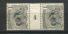 7704  GUYANE   N° 49**   1c  Noir  : Fourmilier   En Paire Avec Millésime  4    1904-07   TB - Unused Stamps