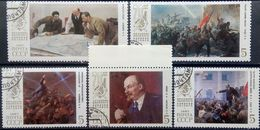 Russia, USSR, 1987, Mi. 5748-52, Y&T 5438-42, Sc. 5591-95, The 70th Anniv. Of The October Revolution, Lenin, Paintings, - Oblitérés