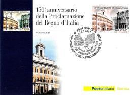 [MD2045] CPM -  150° ANNIVERSARIO PROCLAMAZIONE REGNO D'ITALIA  - POSTE ITALIANE - CON ANNULLO 17.3.2011 - NV - Histoire