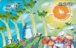 Macau, GSM SIM Card Wiyth Chip, Mushrooms, Lighthouse, 2 Scans. - Macau