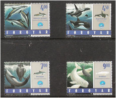 Faroe Islands  1998 International Year Of The Ocean: Toothed Whales  Mi  334-337, MNH(**) - Féroé (Iles)