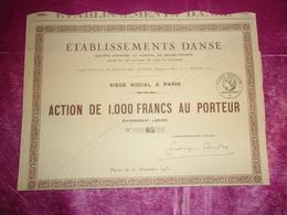 établissements DANSE (100 Titres émis) 1930 - Actions & Titres