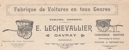 Facture 1913 / E. LECHEVALLIER / Fabrique Voitures / 50 Gavray Manche - Frankreich