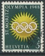 1941 - 5 Rp. Olympiade St. Moritz 1948 - 2. Auflage Mit Seltenem Papier - Oblitérés