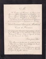 PARIS BAZEILLES ARDENNES Charles Emmanuel De MATHAREL Comte De FIENNES 76 Ans 1890 Famille HUYTTENS De TERBECQ - Décès