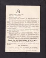 AUBANGE Zoé De MATHELIN De PAPIGNY Veuve De LAMINNE De BEX 1851-1934 BAS-OHA - Décès