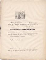EMPTINNE Ciney Henri-Edmond De FABRI-BECKERS FABRIBECKERS 58 Ans En 1854 Faire-part Mortuaire - Décès