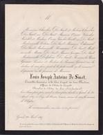 GAND Louis Joseph DE SMET 84 Ans 1867 Conseiller Cour D'appel Des Deux Flandres Chevalier Du Lion Néerlandais - Décès