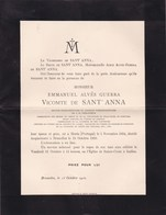 HORTA PORTUGAL BRUXELLES Emmanuel Vicomte De SANT'ANNA Ambassadeur 1834-1910 - Décès