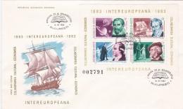 Romania FDC 1983 Intereuropana Souvenir Sheet  (LAR8-7) - FDC