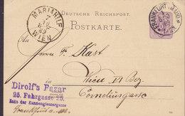 Germany Reichspost Postal Stationery Ganzsache DIROLF's BAZAR, FRANKFURT (Main) 1889 MARIAHILF Wien Austria (2 Scans) - Deutschland