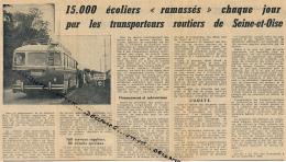 1962 : Document, NEAUPHLE-LE-VIEUX, 15.000 écoliers Ramassés Chaque Jour Par Les Autocars De Seine-et-Oise, Bus - Documenti Storici