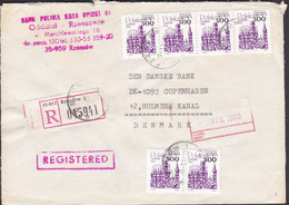 Poland Registered Einschreiben Label RZESZOW 1990 Cover Brief Denmark Gdansk Stamp 4-Stripe & Pair M. Aufdruck - 1944-.... Republik