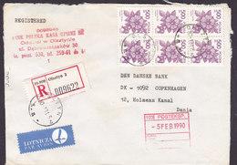 Poland Registered Einschreiben Label OLSZTYN 1990 Cover Brief Denmark 6-Block Flower Blume Stamp - 1944-.... Republik