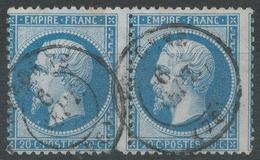 Lot N°44018  Variété/Paire Du N°22, Oblit Cachet à Date De Péronne, Somme (76), Tache Blanche Sous Le Menton 1é Timbre - 1862 Napoleon III
