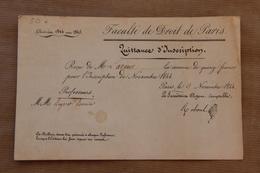 Faculté De Droit De Paris, Quittance D'Inscription, 1844 - Diplomi E Pagelle