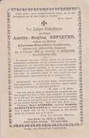 ST-JANS-CAPPEL POPERINGE Amelia Regni SEPIETER Veuve Livinus COEVOET 1806-1878 Souvenir Mortuaire DP - Avvisi Di Necrologio