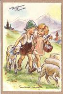 GERMAINE BOURET - ENFANT , GARCON , FILLE , MOUTON - HEUREUSES PÂQUES - HEUREUSE RENCONTRE - éditeur MD - Bouret, Germaine
