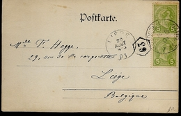 N°72(2x)  Sur Carte Photo Expédiée De Mondorf-les-bains Le 19 Aout 1901 (Lot 626) - 1895 Adolphe Rechterzijde