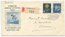 1947 - St. Moritz Olympia 1948 Illustrierter R-Brief Mit 30 Rp. Skifahrer Und 10 Rp. Pro Juventute - Schweiz