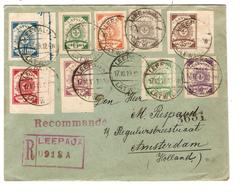 Latvia-Latvija Registered Cover Leepaja 1919 Stamps Imperforeted To Amsterdam Holland 2068 - Letonia