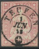 1950 - Vollstempel TEUFEN 1 JUN 58 Auf 15 Rp. Strubel - Heimat APPENZELL - 1854-1862 Helvetia (Ungezähnt)