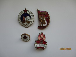 RUSSIA USSR LOT OF 4 ENAMELED BADGES , RED CROSS , SCOUTING , AGRICULTURAL EXHIBITION , 0 - Badges