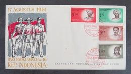 INDONESIE 1961 :  FDC 17 Agustus - Hari Proklamasi Ke 16 Rep. Indonesia - First Day Cover - Diponegoro Bondjol Pattimura - Indonésie