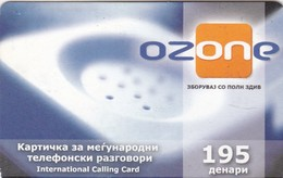 Macedonia, 195 Units Ozone Prepaid International Calling Card, 2 Scans. - Macedonia