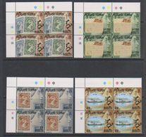Falkland Islands 1991 Centenary Of Bisected Stamps 4v Bl Of 4 (corner) ** Mnh (39516) - Falklandeilanden