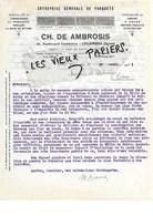 92 - Hauts-de-seine - COLOMBES - Facture AMBROSIS - Entreprise De Parquets - 1933 - REF 97D - Francia
