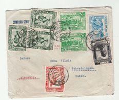 1937 PERU COVER To GERMANY  Stamps INCA , PETROLEUM, BIRD , PARK  Birds Oil Energy - Peru