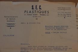 S.E.C. Plastiques, Taraflex, Tarabox, Paris, Lot De 3 Documents, 1951 - Francia