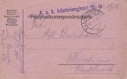 Feldpostkarte - K.u.k. Infanterieregiment Nr. 14 Nach Ottensheim - 1916 (35644) - Briefe U. Dokumente