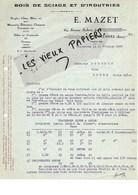 94 - Val-de-marne - VINCENNES - Facture MAZET - Bois De Sciage Et D'industrie - 1928 - REF 97D - Francia