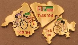 CYCLISME - VELO - CYCLISTE - BIKE - TOUR DE SUISSE '94 - PUZZLE CARTE DE LA SUISSE - TDS - RADIO TELEVISON SUISSE DRS - Cycling