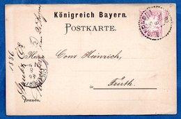 Wurtemberg -  Carte Postale  -  De Nürnberg  -  Pour Fürth  --26 Aout 1886 - Bavière