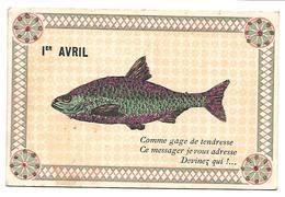1ER AVRIL - POISSON D'AVRIL - Carte Pailletée - 1er Avril - Poisson D'avril