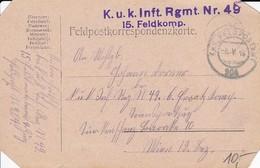 Feldpostkarte K.u.k. Inft. Rgmt. Nr. 49 Nach Wien - 1916 (35657) - 1850-1918 Imperium