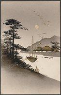 Hand Painted With Gold - Boat On The River, Japan, 1915 - Stiebel & Co Postcard - Künstlerkarten